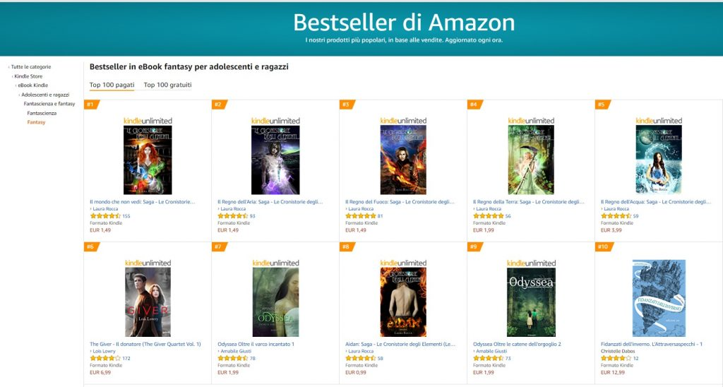 Le Cronistorie degli Elementi Saga - Classifica fantasy Amazon Laura Rocca